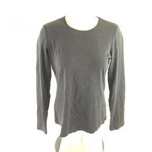 J Jill Womens T-Shirt Black Long Sleeves Scoop Nec